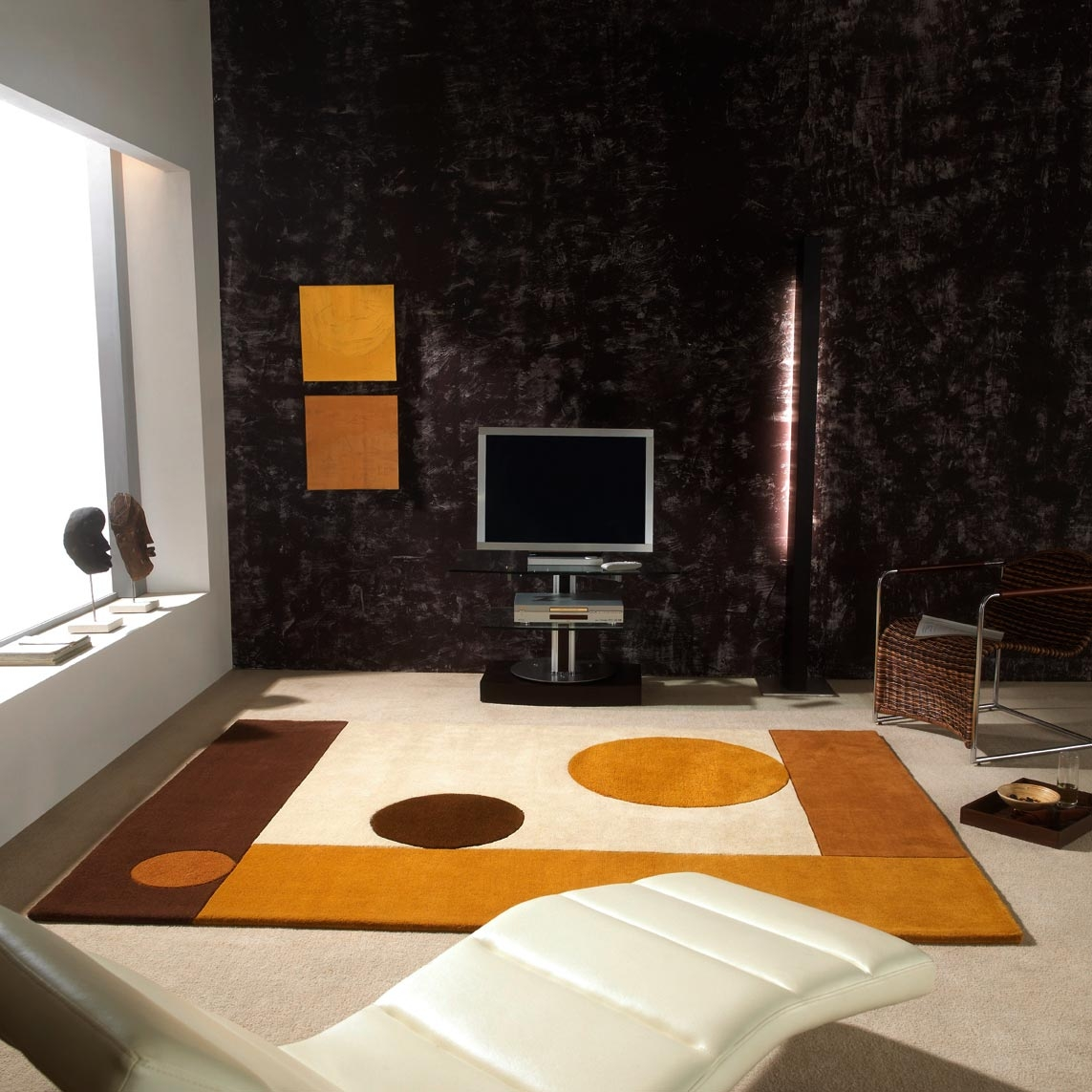 Chambre jaune et marron for Tapis de salon gris et beige