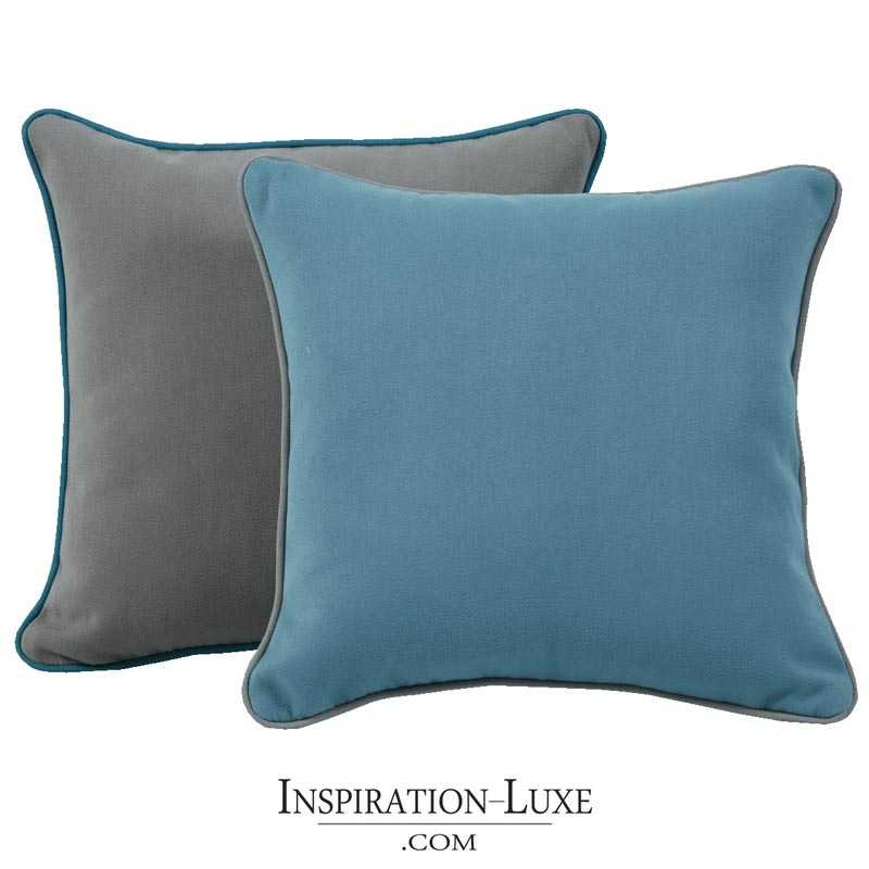coussin de luxe uni bleu ou gris 45 x 45 cm. Black Bedroom Furniture Sets. Home Design Ideas