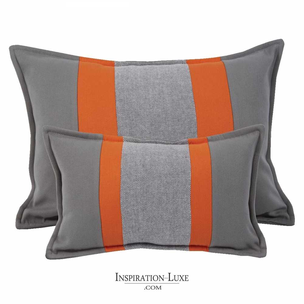 coussin rectangulaire de luxe ray gris et orange 2 tailles au choix. Black Bedroom Furniture Sets. Home Design Ideas