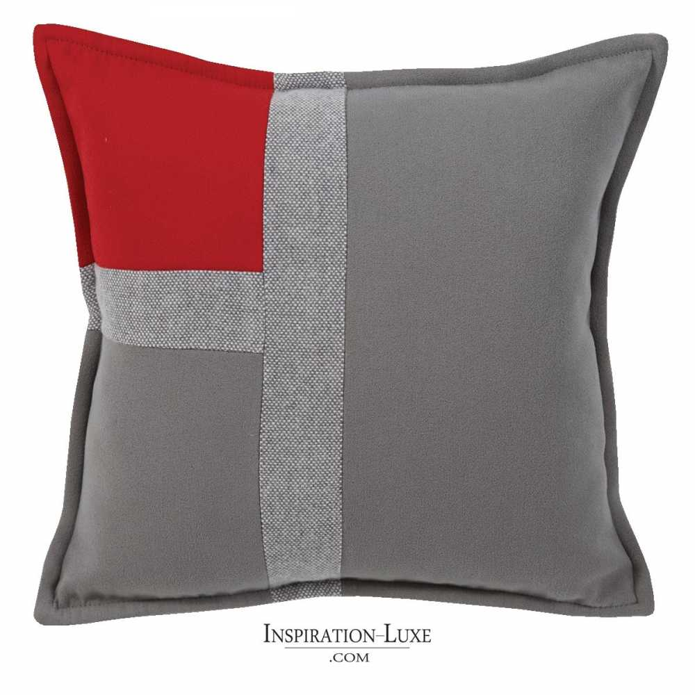 coussin de luxe tricolore rouge gris souris et gris clair 45 x 45 cm. Black Bedroom Furniture Sets. Home Design Ideas