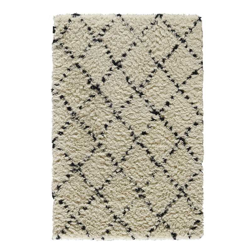 tapis de salon prestige en laine beige motifs berb res bleus zagora par angelo. Black Bedroom Furniture Sets. Home Design Ideas