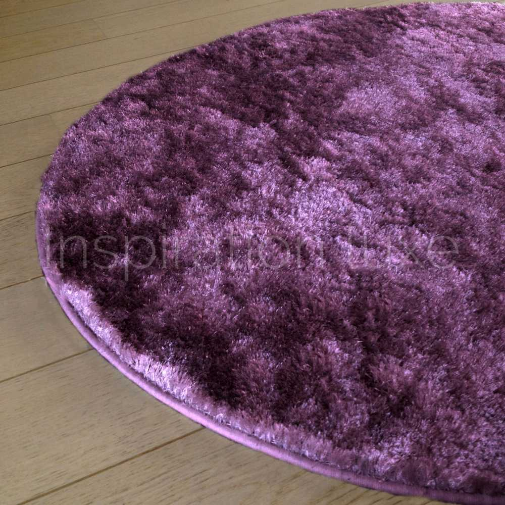 tapis sur mesure rond violet shaggy fin par inspiration luxe. Black Bedroom Furniture Sets. Home Design Ideas