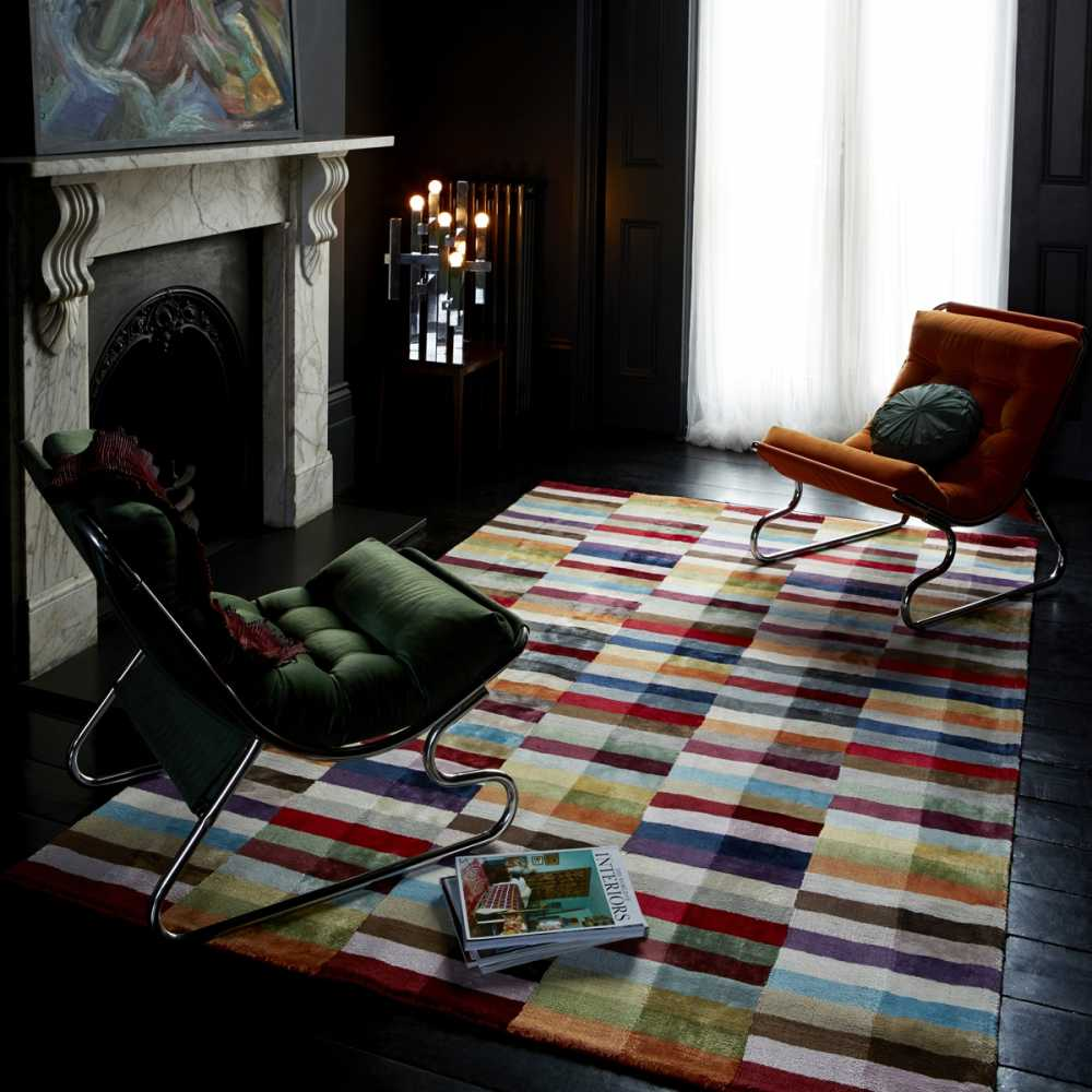 tapis design graphique multicolore en viscose. Black Bedroom Furniture Sets. Home Design Ideas