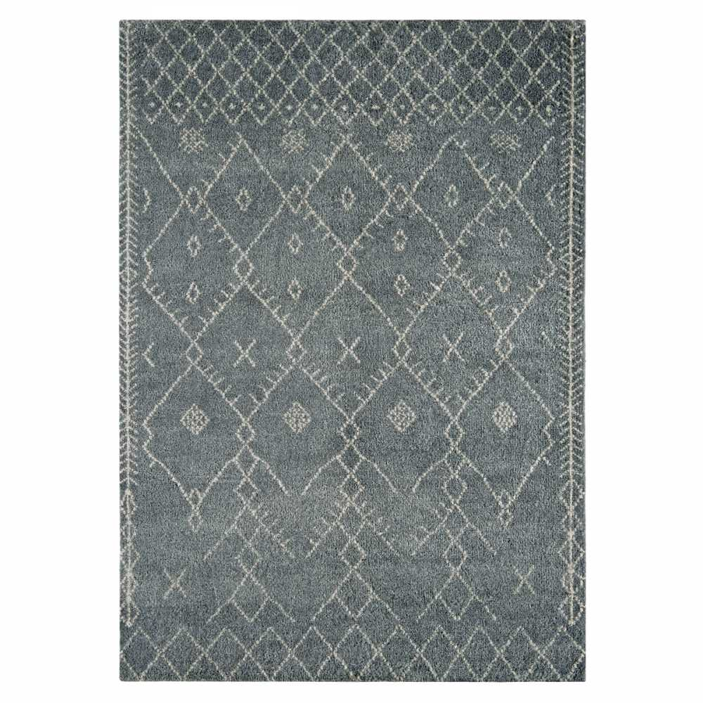 tapis style marocain gris bleu en laine nou la main. Black Bedroom Furniture Sets. Home Design Ideas