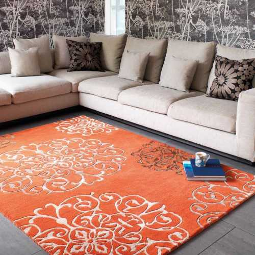 tapis de salon baroque orange avec arabesques par joseph lebon. Black Bedroom Furniture Sets. Home Design Ideas