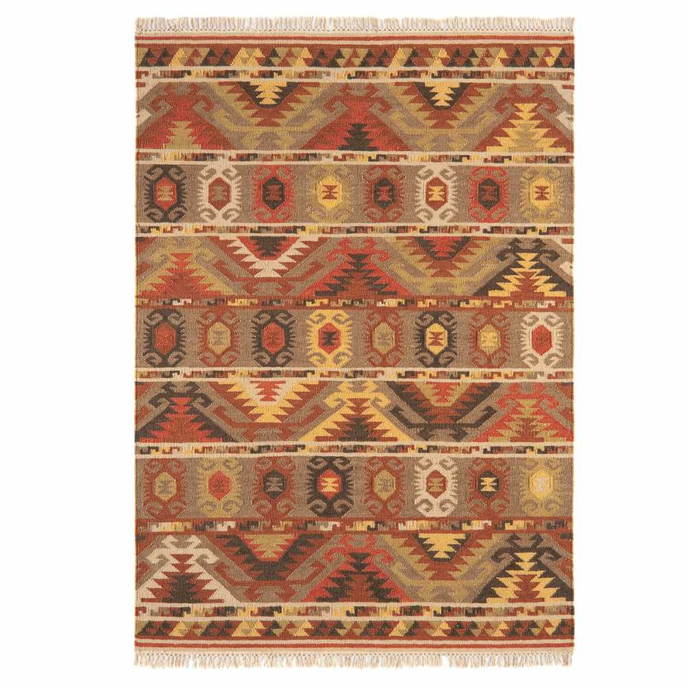 tapis contemporain kilim motifs ethniques marron. Black Bedroom Furniture Sets. Home Design Ideas