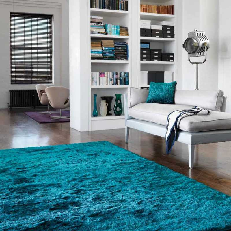 tapis contemporain shaggy bleu turquoise. Black Bedroom Furniture Sets. Home Design Ideas
