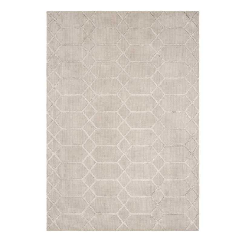 Tapis contemporain graphique beige et gris en viscose for Tapis de salon gris et beige