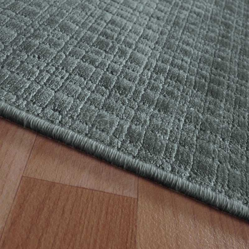 Tapis Sur Mesure En Viscose Carreaux Gris Anthracite Rectangulaire Ou Carr