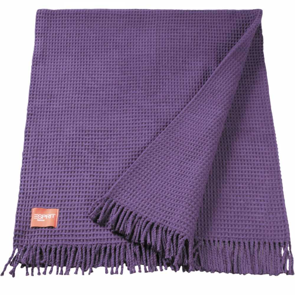 Plaid design violet avec structure gaufr e esprit home 140 for Plaid contemporain