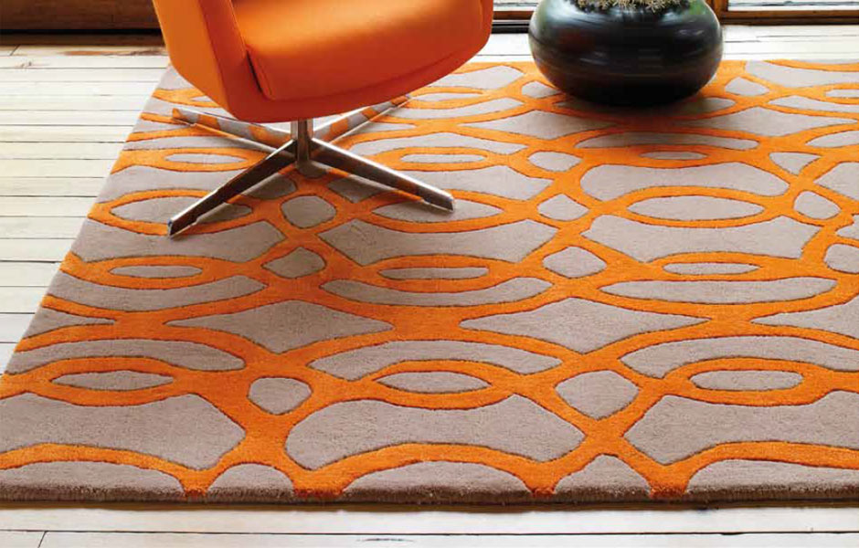 Tapis haut de gamme orange et taupe wire par joseph lebon for Tapis orange salon