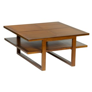 Table basse carrée 90 x 90 cm en bois de mindy