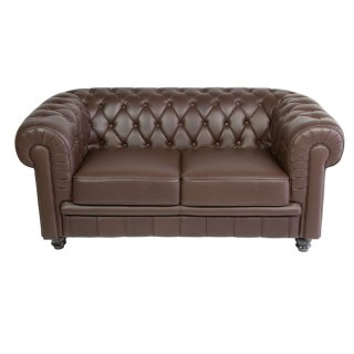 Canapé vintage de type chesterfield en simili cuir marron chocolat matelassé - 2 places