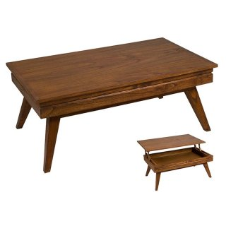 Table basse rectangulaire style colonial en bois de mindy 110 x 65 cm