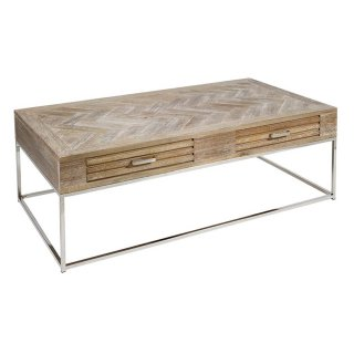 Table basse rectangulaire en teck 130 x 70 cm style industriel