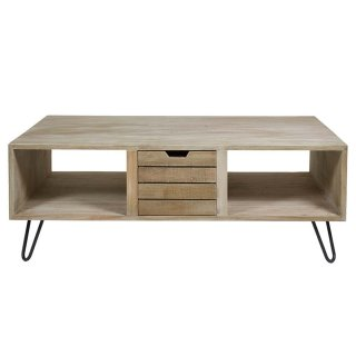 Table basse rectangulaire style ancien en bois de mindy 121 x 70 cm