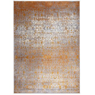 Tapis de luxe design orange et gris Eco en viscose