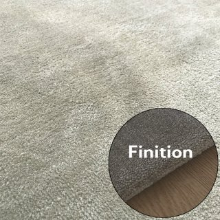 Tapis de de luxe design taupe sur mesure aspect viscose finition repli