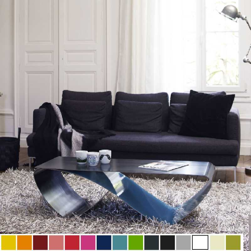 Table basse de luxe en acier personnalisable design infini 120 x 50 cm - Table basse luxe design ...