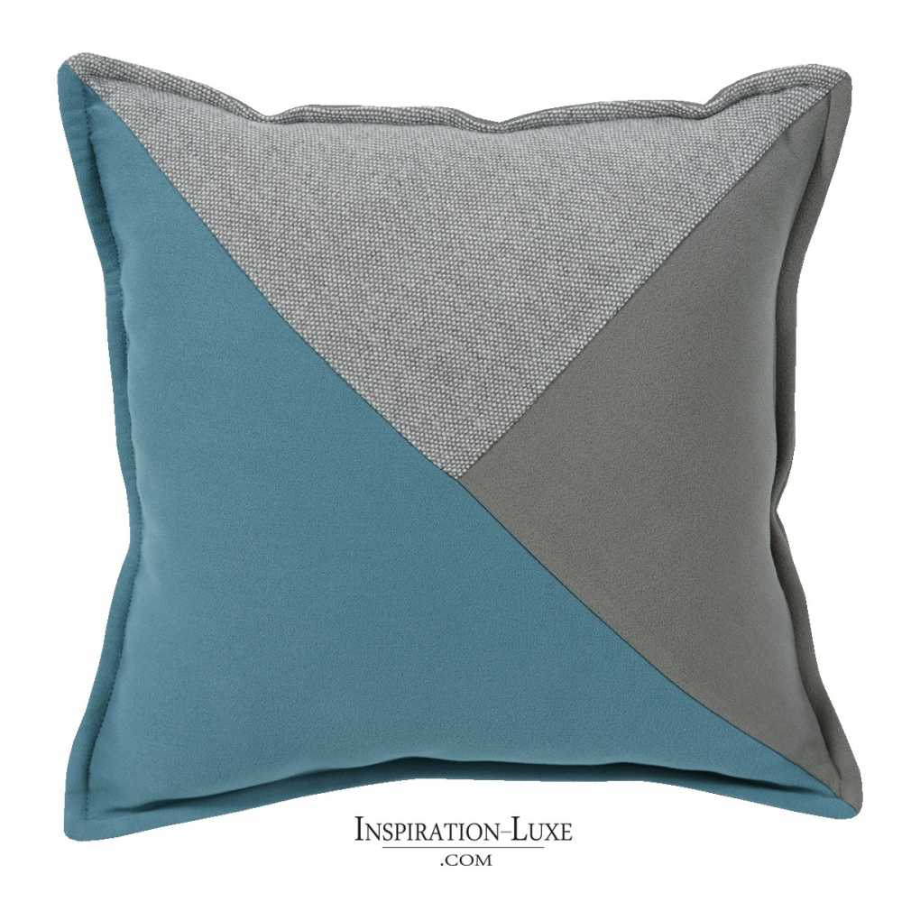 coussin prestige avec nuances de bleu turquoise et de gris 45 x 45 cm. Black Bedroom Furniture Sets. Home Design Ideas