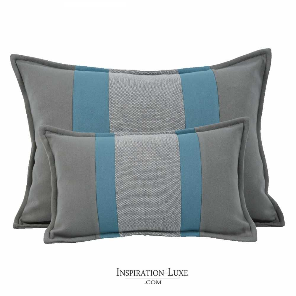 coussin rectangulaire de luxe ray bleu et gris 2 tailles au choix. Black Bedroom Furniture Sets. Home Design Ideas