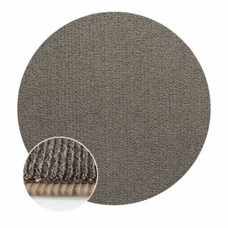 Tapis rond taupe effet velours finition galon 100 cm