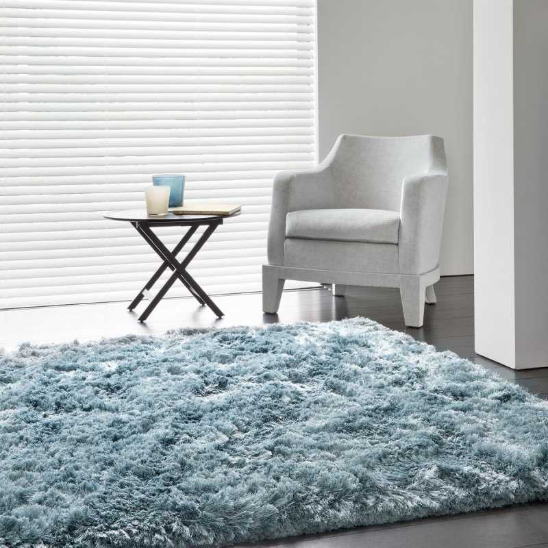 tapis contemporain bleu uni shaggy adore par ligne pure. Black Bedroom Furniture Sets. Home Design Ideas