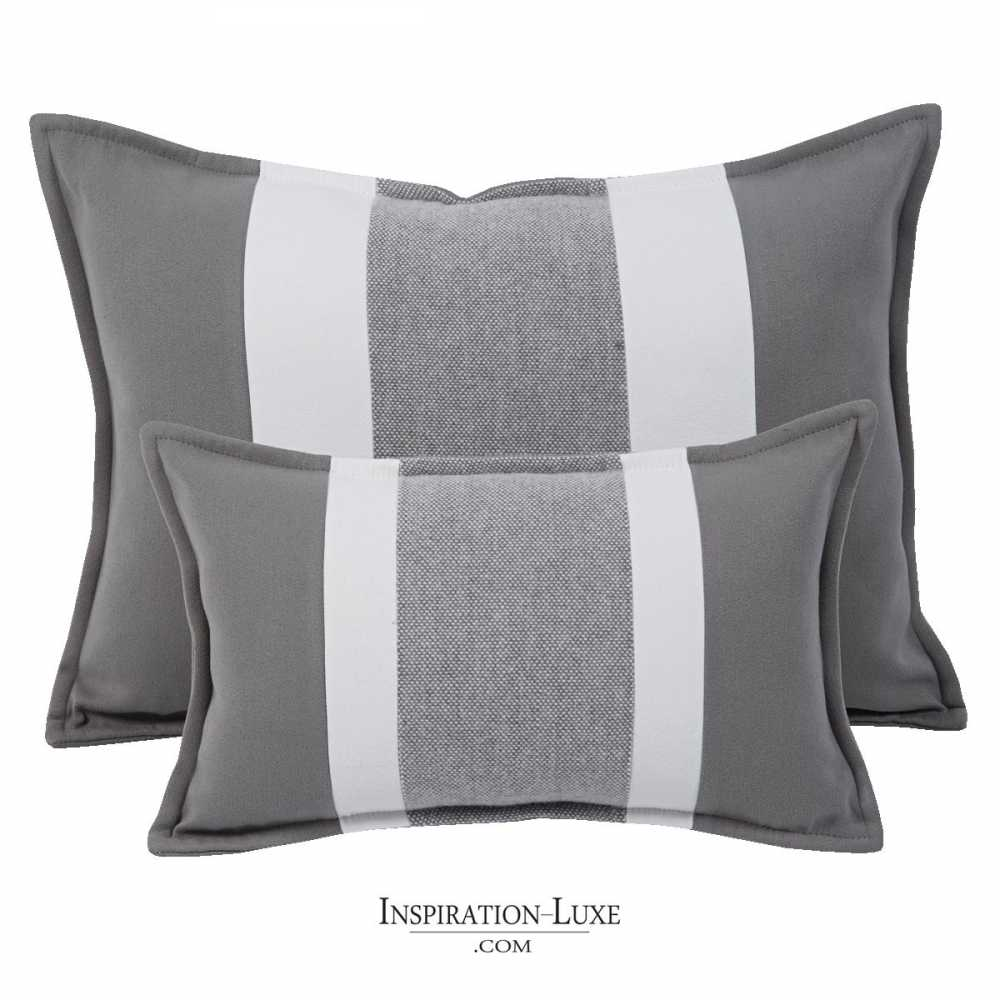 coussin rectangulaire de luxe ray gris et blanc 2 tailles au choix. Black Bedroom Furniture Sets. Home Design Ideas