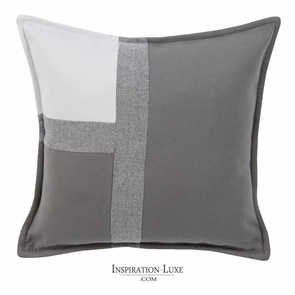 coussin de luxe tricolore blanc gris souris et gris clair 45 x 45 cm. Black Bedroom Furniture Sets. Home Design Ideas