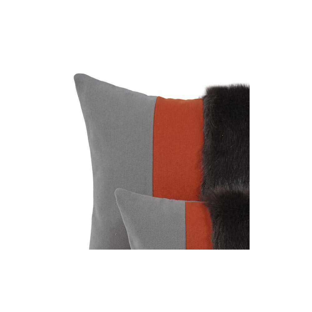 coussin prestige rectangulaire gris orange cuivr 2 tailles au choix. Black Bedroom Furniture Sets. Home Design Ideas