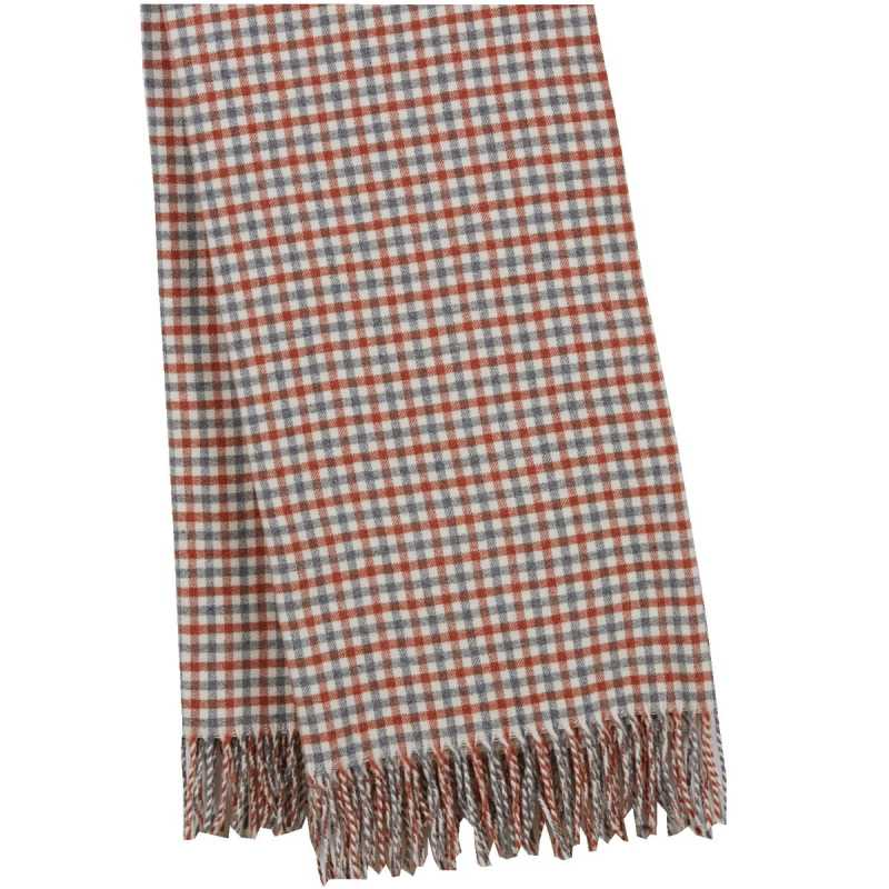 Plaid de luxe carreaux orange cuivr gris en laine d for Plaid contemporain