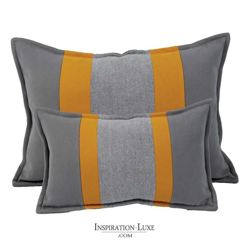 coussin rectangulaire de luxe jaune et gris 2 tailles au choix. Black Bedroom Furniture Sets. Home Design Ideas