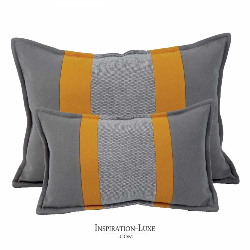 coussin rectangulaire de luxe jaune et gris 2 tailles au. Black Bedroom Furniture Sets. Home Design Ideas