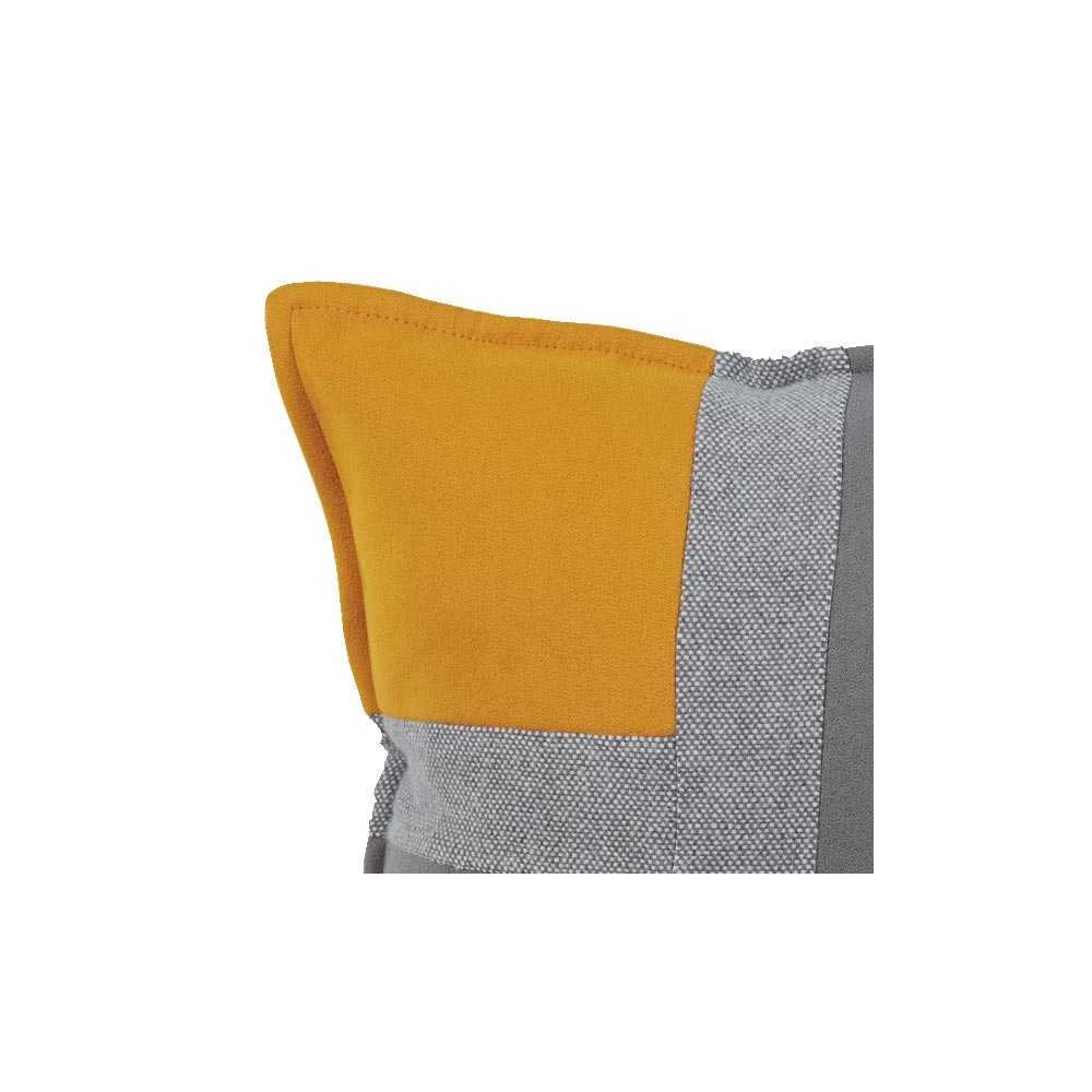 coussin de luxe tricolore jaune gris souris et gris clair 45 x 45 cm. Black Bedroom Furniture Sets. Home Design Ideas