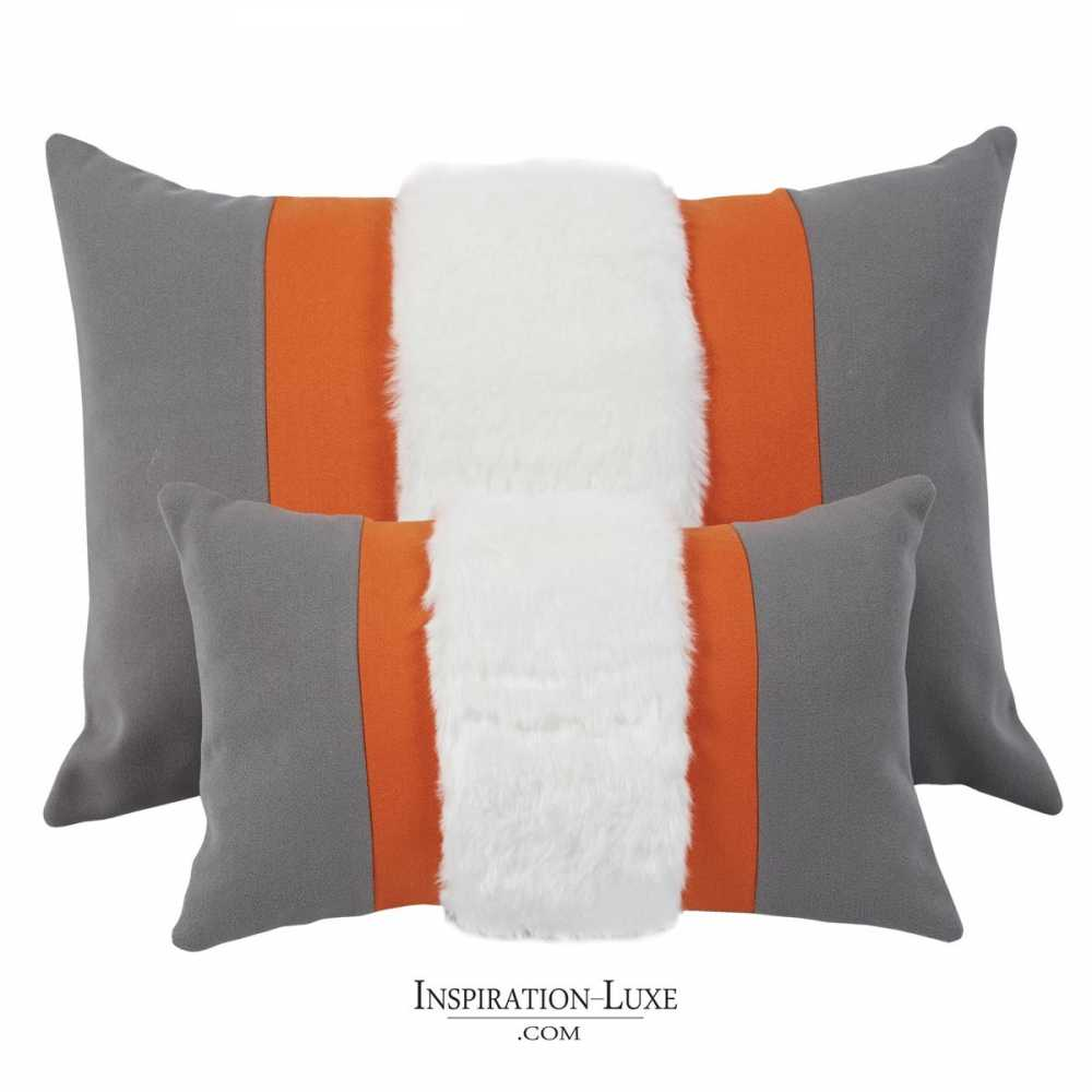 coussin prestige rectangulaire gris orange 2 tailles au choix. Black Bedroom Furniture Sets. Home Design Ideas