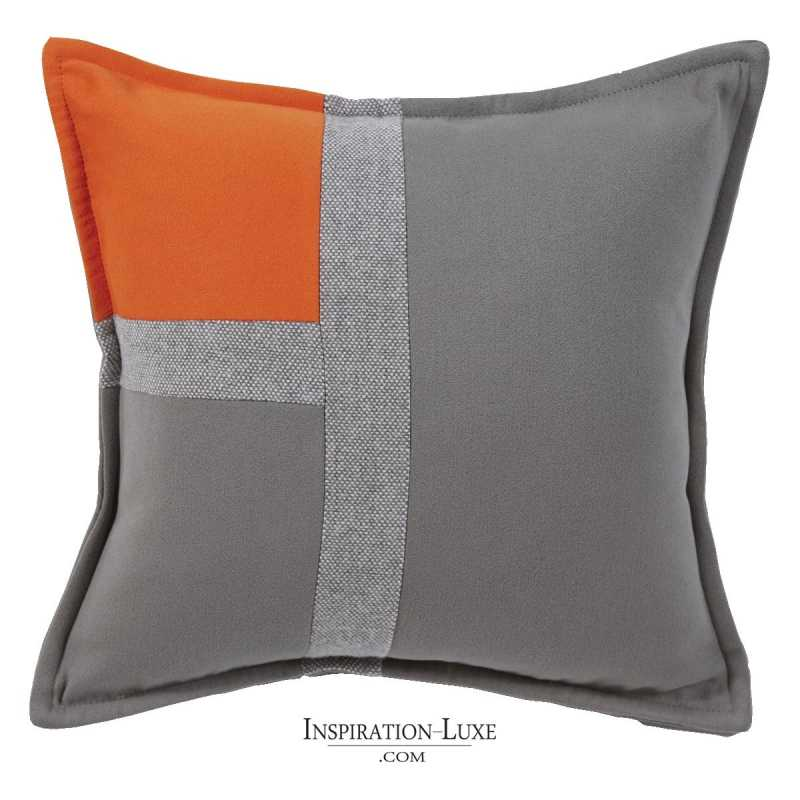 coussin de luxe tricolore orange gris souris et gris clair 45 x 45 cm. Black Bedroom Furniture Sets. Home Design Ideas