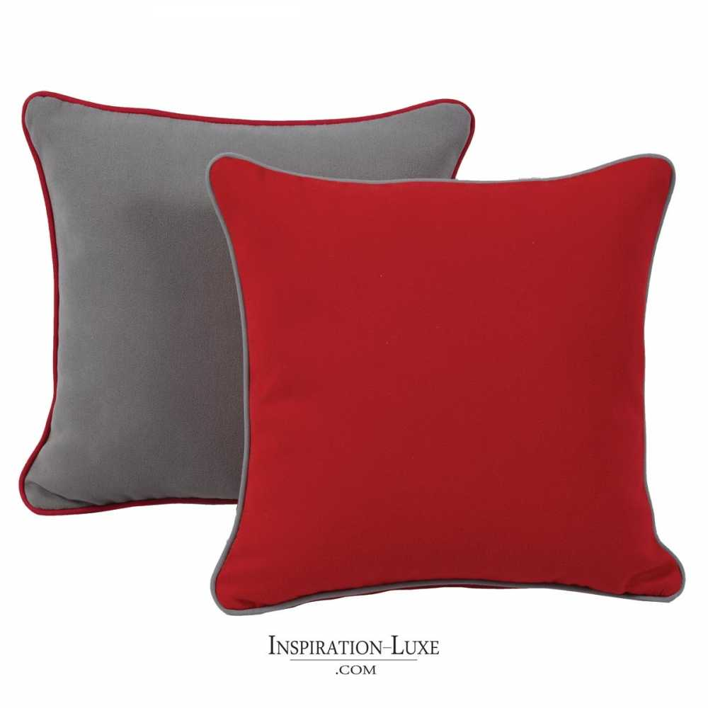 coussin de luxe uni rouge ou gris 45 x 45 cm. Black Bedroom Furniture Sets. Home Design Ideas