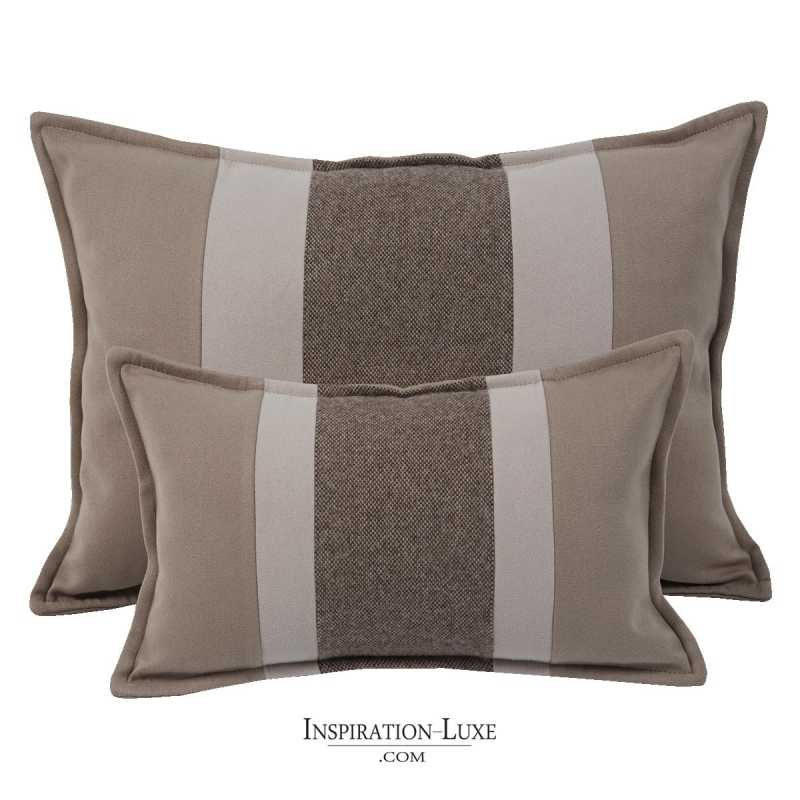Coussin rectangulaire de luxe rayé taupe,