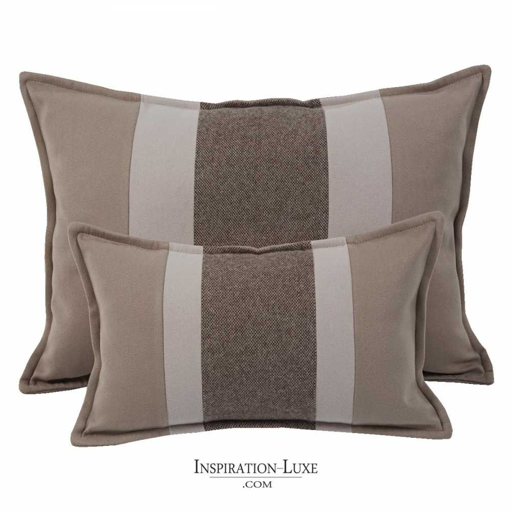 coussin rectangulaire de luxe ray taupe sable et marron 2 tailles au choix. Black Bedroom Furniture Sets. Home Design Ideas