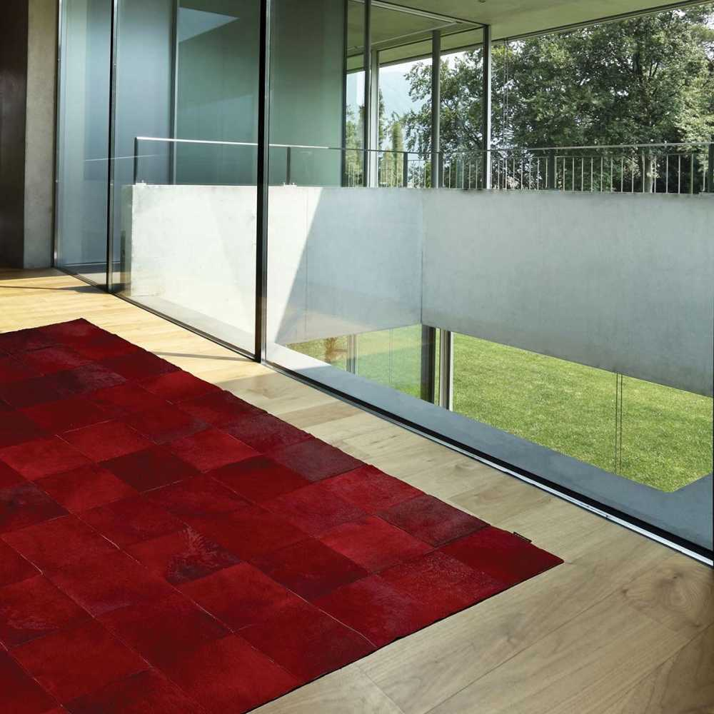 tapis de luxe contemporain rouge starless par angelo