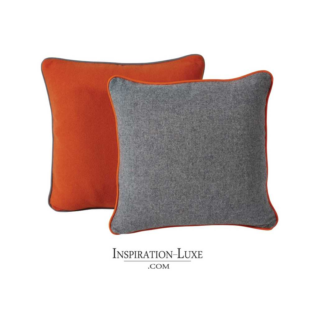 coussin de luxe en laine uni orange ou gris 45 x 45 cm. Black Bedroom Furniture Sets. Home Design Ideas