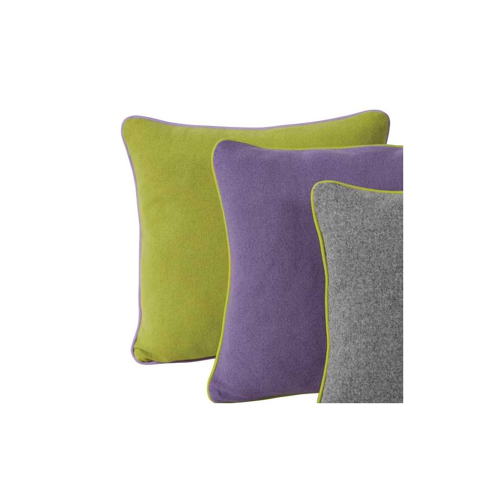 coussin de luxe en laine uni vert anis parme ou gris 45 x 45 cm. Black Bedroom Furniture Sets. Home Design Ideas