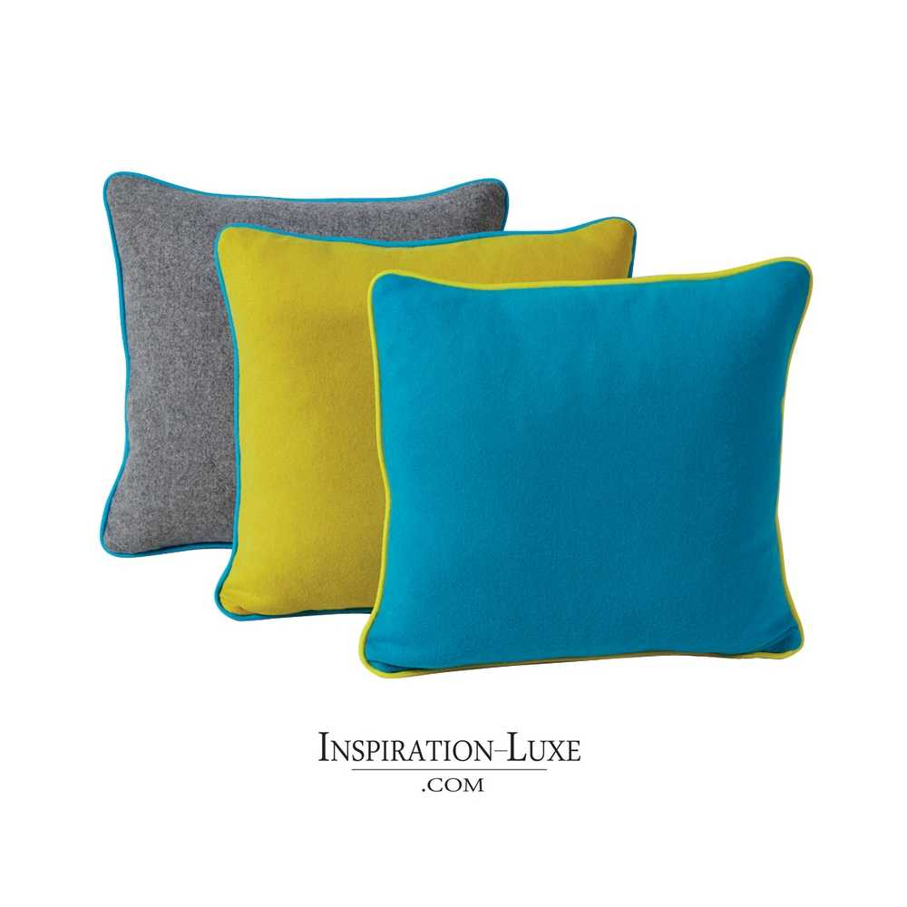 coussin de luxe en laine uni gris jaune ou bleu 45 x 45 cm. Black Bedroom Furniture Sets. Home Design Ideas
