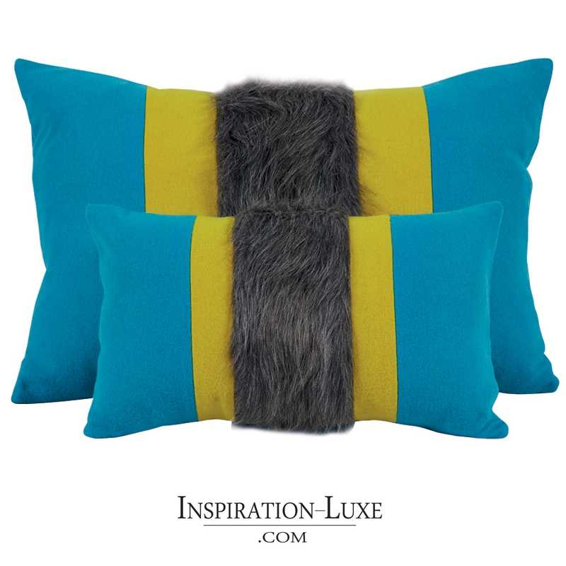 coussin prestige rectangulaire en laine bleu jaune 2 tailles au choix. Black Bedroom Furniture Sets. Home Design Ideas