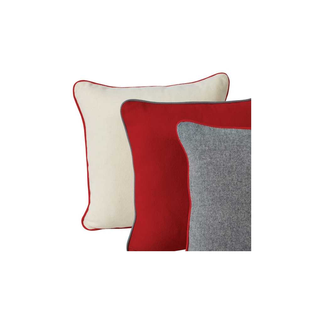coussin de luxe en laine uni blanc rouge ou gris 45 x 45 cm. Black Bedroom Furniture Sets. Home Design Ideas
