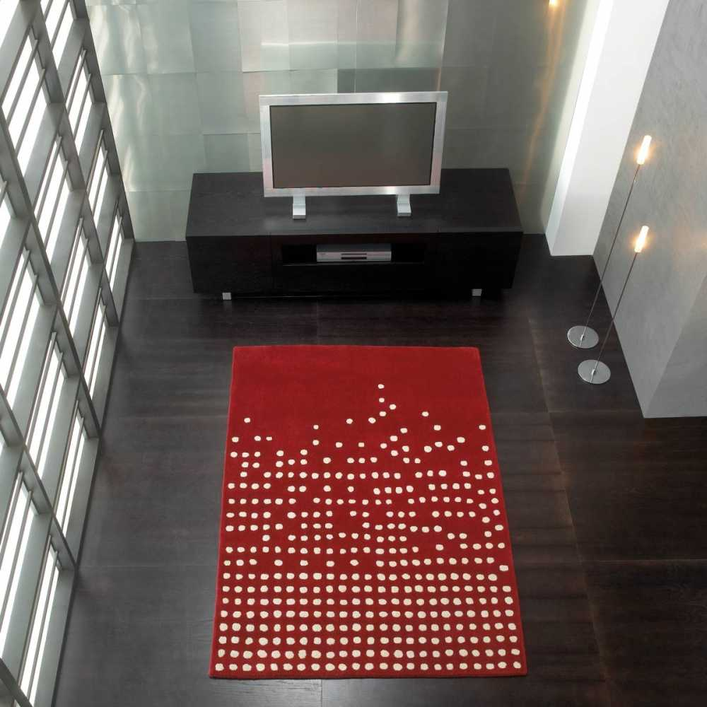 tapis de luxe design rouge et blanc pompons cascata par carving. Black Bedroom Furniture Sets. Home Design Ideas