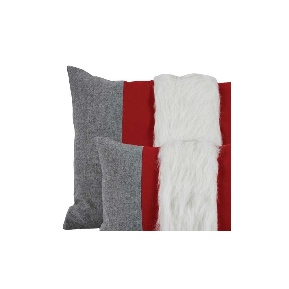 coussin prestige rectangulaire en laine gris rouge 2 tailles au choix. Black Bedroom Furniture Sets. Home Design Ideas