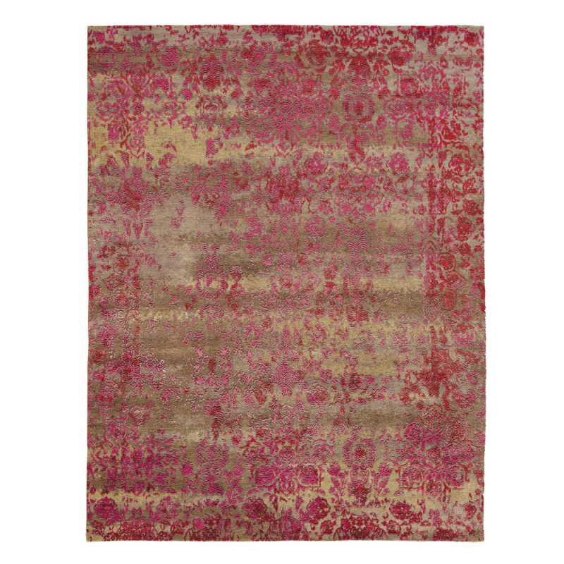 tapis prestige en relief rouge framboise et beige en laine et soie de bambou heritage par angelo. Black Bedroom Furniture Sets. Home Design Ideas