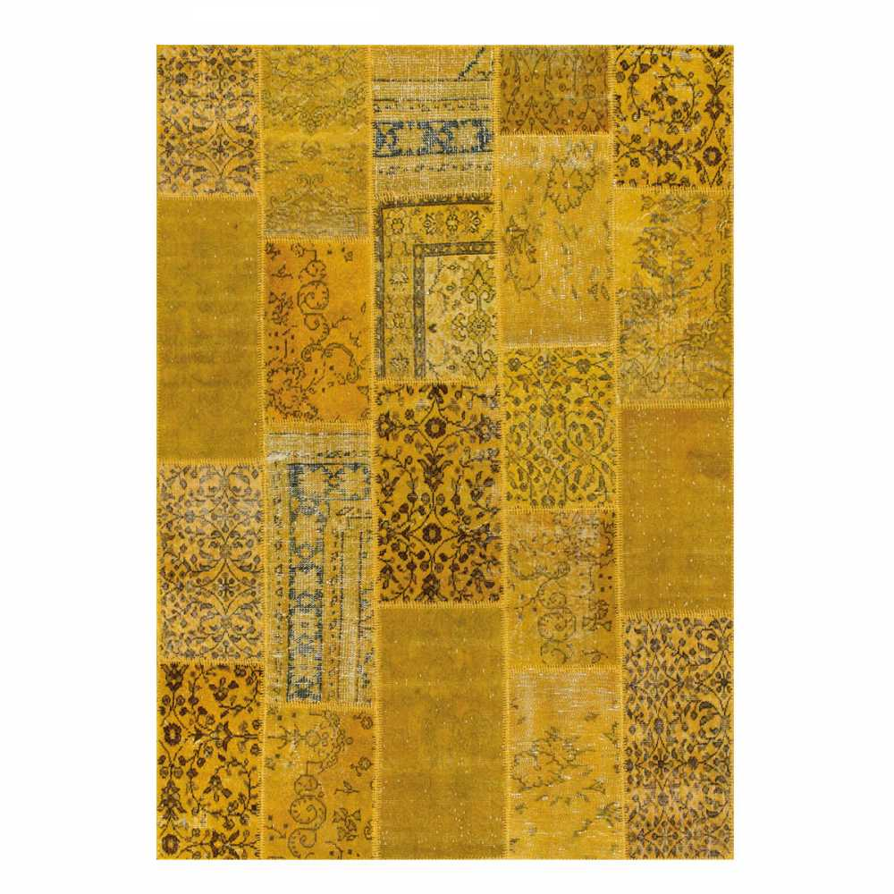 tapis de salon patchwork jaune en laine et coton par angelo. Black Bedroom Furniture Sets. Home Design Ideas