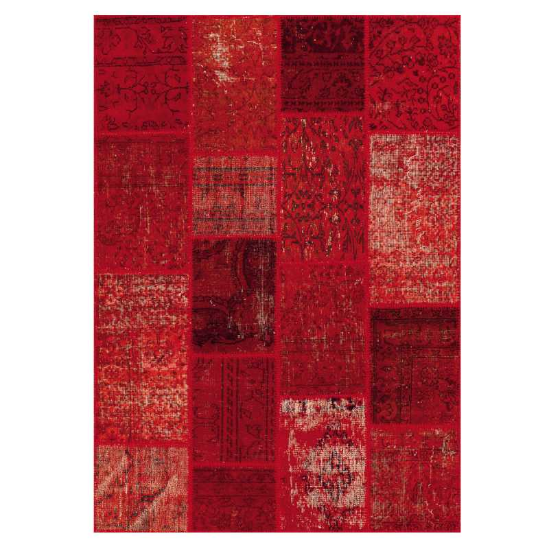 tapis de luxe rouge kilim en laine style patchwork par angelo. Black Bedroom Furniture Sets. Home Design Ideas